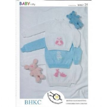 "BKHKC 25 4 ply Baby's & Child's Embroidered Sweater Knitting Pattern (16-24"")"